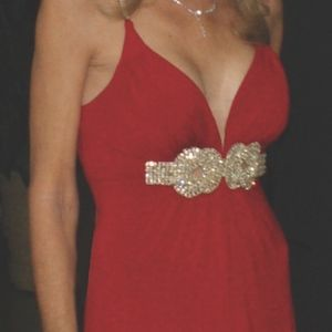 Red evening gown, rhinestone straps & detailing